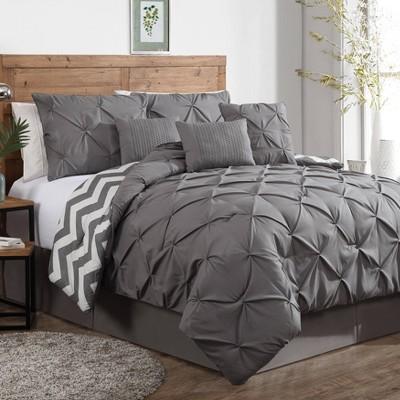 King 7pc Ella Pinch Pleat Comforter Set Gray - Geneva Home Fashion