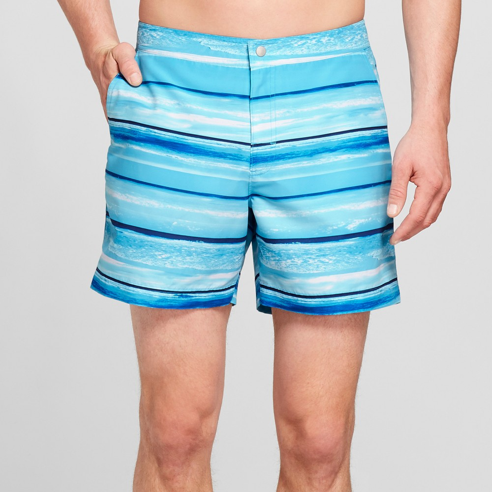 Men's 6 Striped Photo Shore Snap Swim Trunks - Goodfellow & Co Blue Multi Striped 38