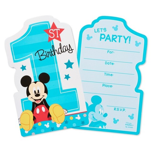 8ct Mickey Mouse 1St Birthday Invitations Target