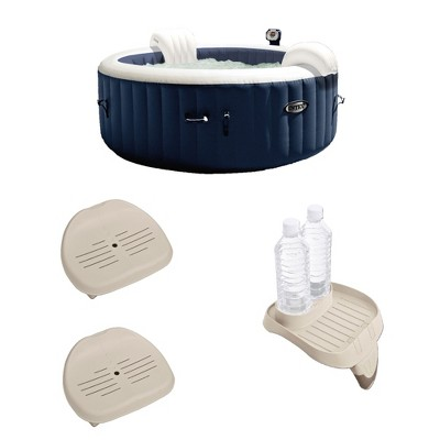 """Intex 28405E PureSpa 4 Person Home Inflatable Portable Heated Round Hot Tub Spa 58"""" x 28"""" with Bubble Jets, Non-Slip Seat (2 Pack) and Drink Holder"""