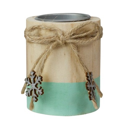 """Northlight 3"""" Green and Natural Wood Christmas Tea Light Candle Holder"""