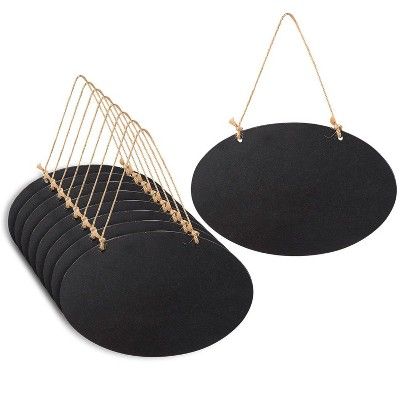 Juvale 8-Pack Hanging Reusable Oval Black Chalkboard Signs Blackboard for Party & Decorations