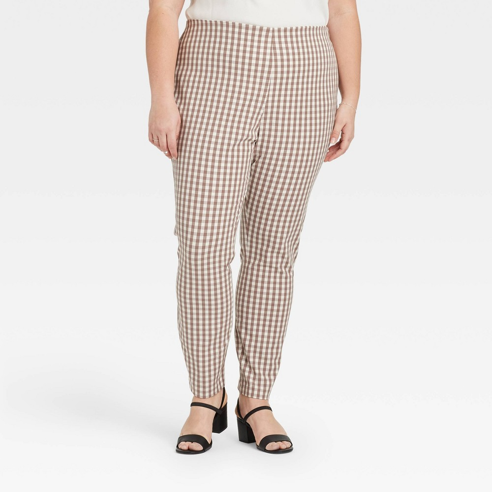 1960s Pants – Top 10 Styles for Women Womens Plus Size Gingham Check High-Rise Skinny Ankle Pants - A New Day Light Brown 26W $25.00 AT vintagedancer.com