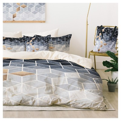 Blue Elisabeth Fredriksson Gradient Cubes Duvet Cover Set (Queen) - Deny Designs