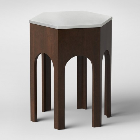 Triller Marble Wooden Hexagon Side Table - Opalhouse™ - image 1 of 4