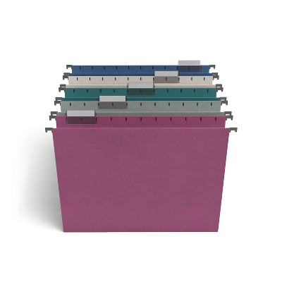TRU RED Hanging File Folders, 5-Tab, Letter Size, Assorted Jewel Tone Colors TR58173