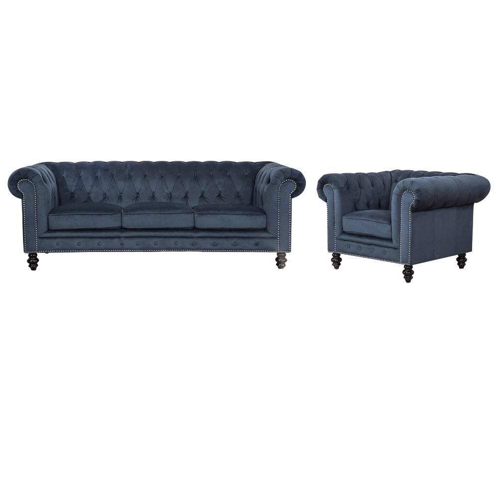 Image of 2pc Grand Wyatt Velvet Sofa & Armchair Set Dark Blue - Abbyson Living