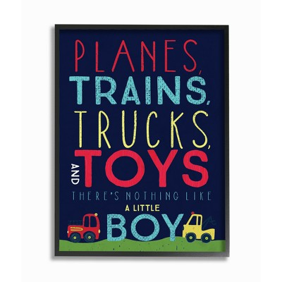 """Planes Trains Trucks and Toys Oversized Framed Giclee Texturized Art (16""""x20""""x1.5) - Stupell Industries"""