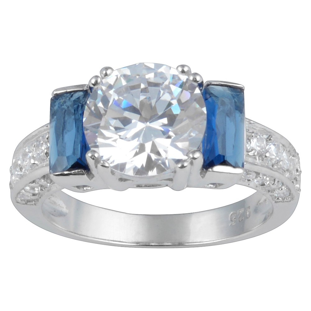 3 5/8 CT. T.W. Round-Cut CZ Basket Set Engagement Ring in Sterling Silver - Blue, 6, Girl's