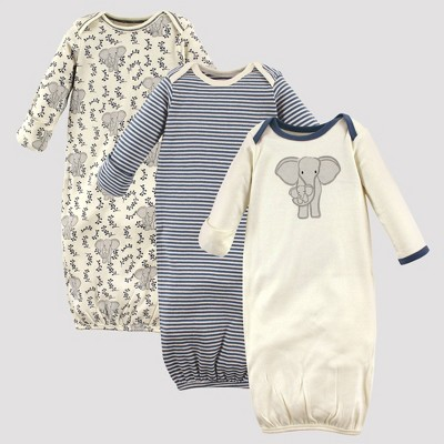 Touched by Nature Baby Girls' 3pk Elephant Organic Cotton Gowns - Off White/Gray 0-6M