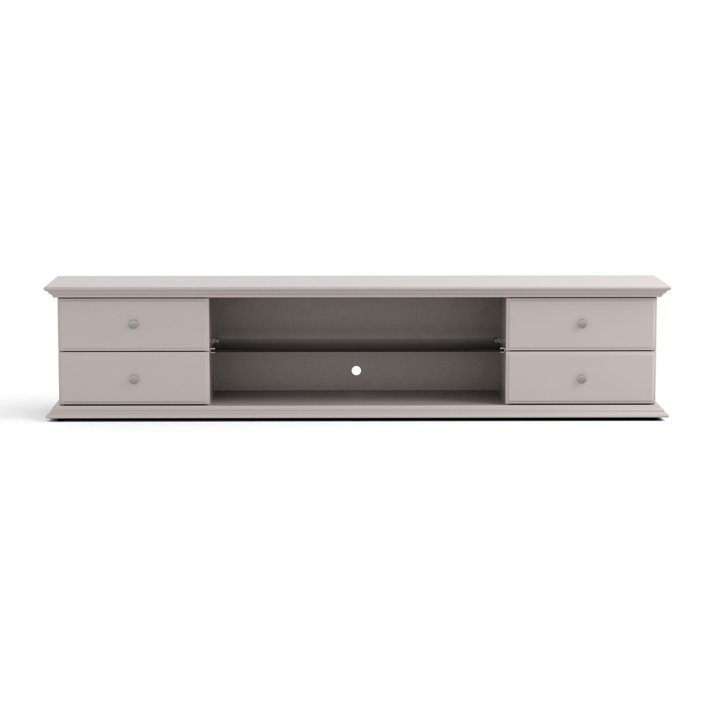 85.43 Carder 4 Drawer TV Stand with Glass Shelves Off-White (Beige) - Manhattan Comfort
