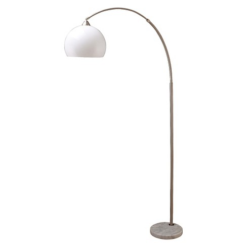 a7dd531f136e5 Modern Silver Arc Floor Lamp On White Marble Base : Target