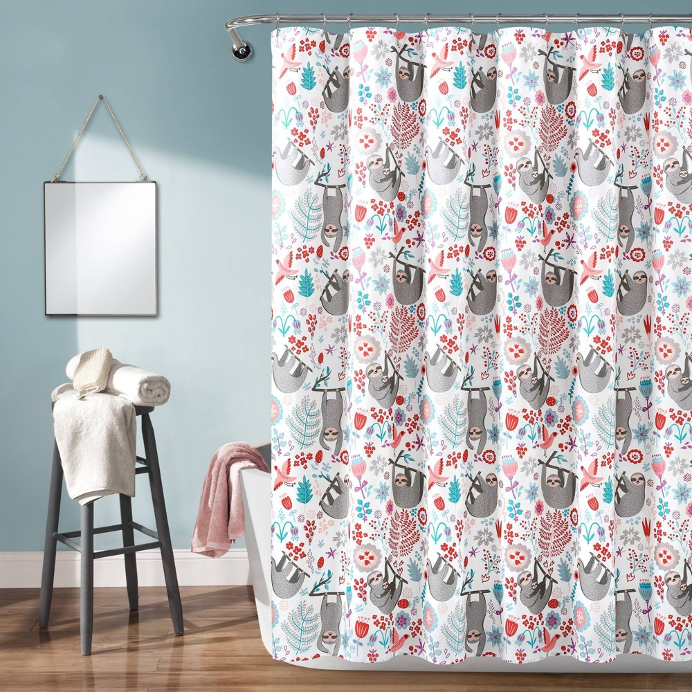 """Image of """"72""""""""x72"""""""" Hygge Sloth Shower Curtain Single White - Lush Décor"""""""