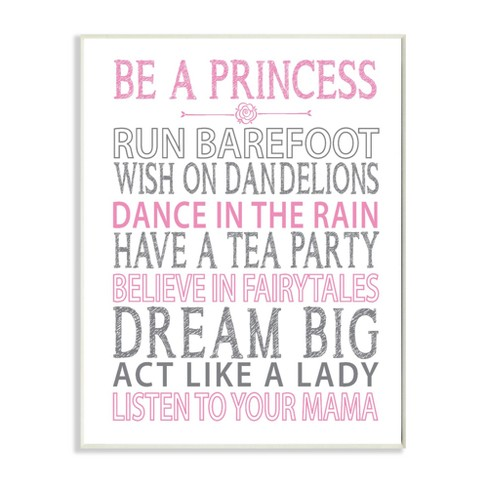 """Be a Princess Pink Typog Wall Plaque Art (12.5""""x18.5""""x0.5"""") - Stupell Industries - image 1 of 2"""
