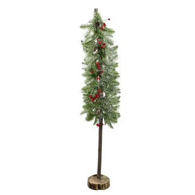 """Northlight 34"""" Green and Red Glittered Artificial Alpine Christmas Tree Tabletop Decor"""