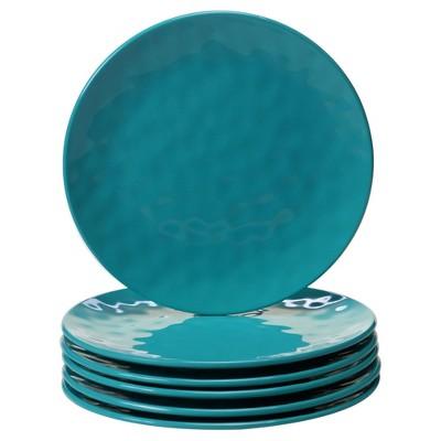 """Certified International Solid Color Melamine Salad Plates 9"""" Teal - Set of 6"""