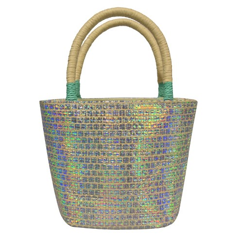 Toddler Girls' Iridescent Tote Bag - Cat & Jack™ Silver - image 1 of 1