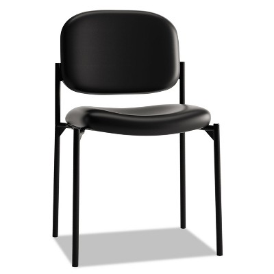 Basyx VL606 Series Stacking Armless Guest Chair Black Leather VL606SB11