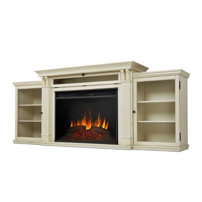Real Flame Tracey Grand Electric Fireplace Entertainment Center Distressed White