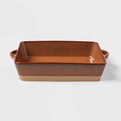 "13"" x 8"" Stoneware Casserole Baking Dish Orange - Threshold™"