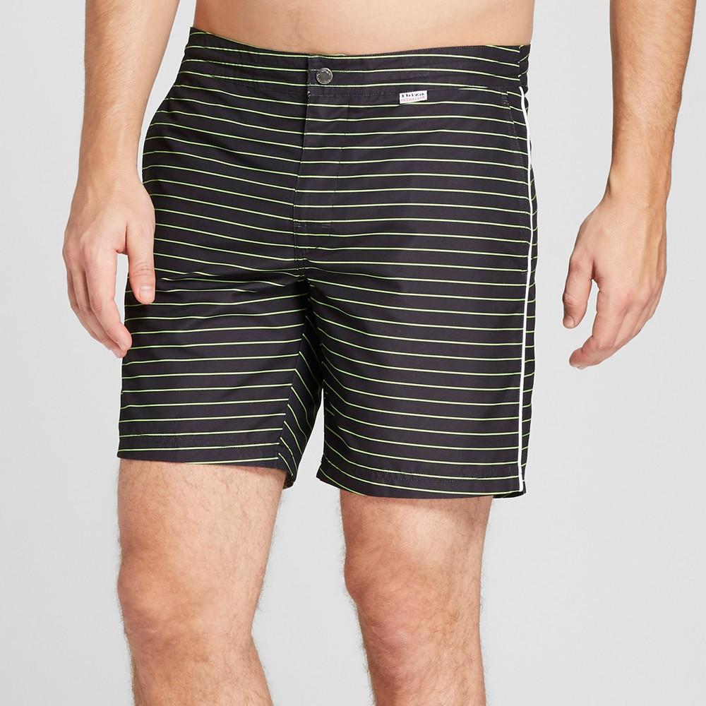 Ibiza Striped Ocean Club Men's 6 Recreational Swim Trunks - Stripe 38, Black