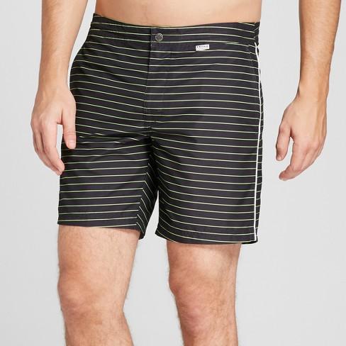 "IBIZA Striped Ocean Club Men's 6"" Recreational Swim Trunks - Black - image 1 of 3"