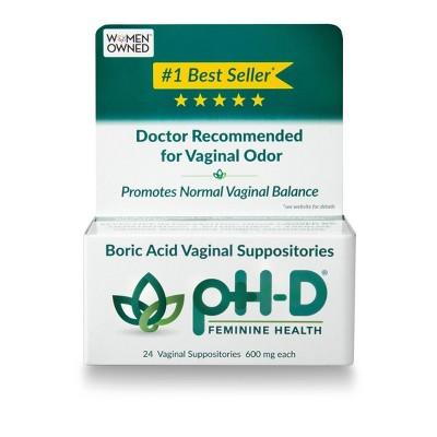 pH-D Feminine Health Boric Acid Yeast Infection Relief - 24ct