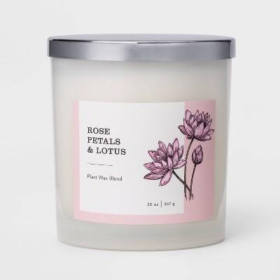 20oz Milky Glass Jar 3-Wick Candle Rose Petals & Lotus - Threshold™