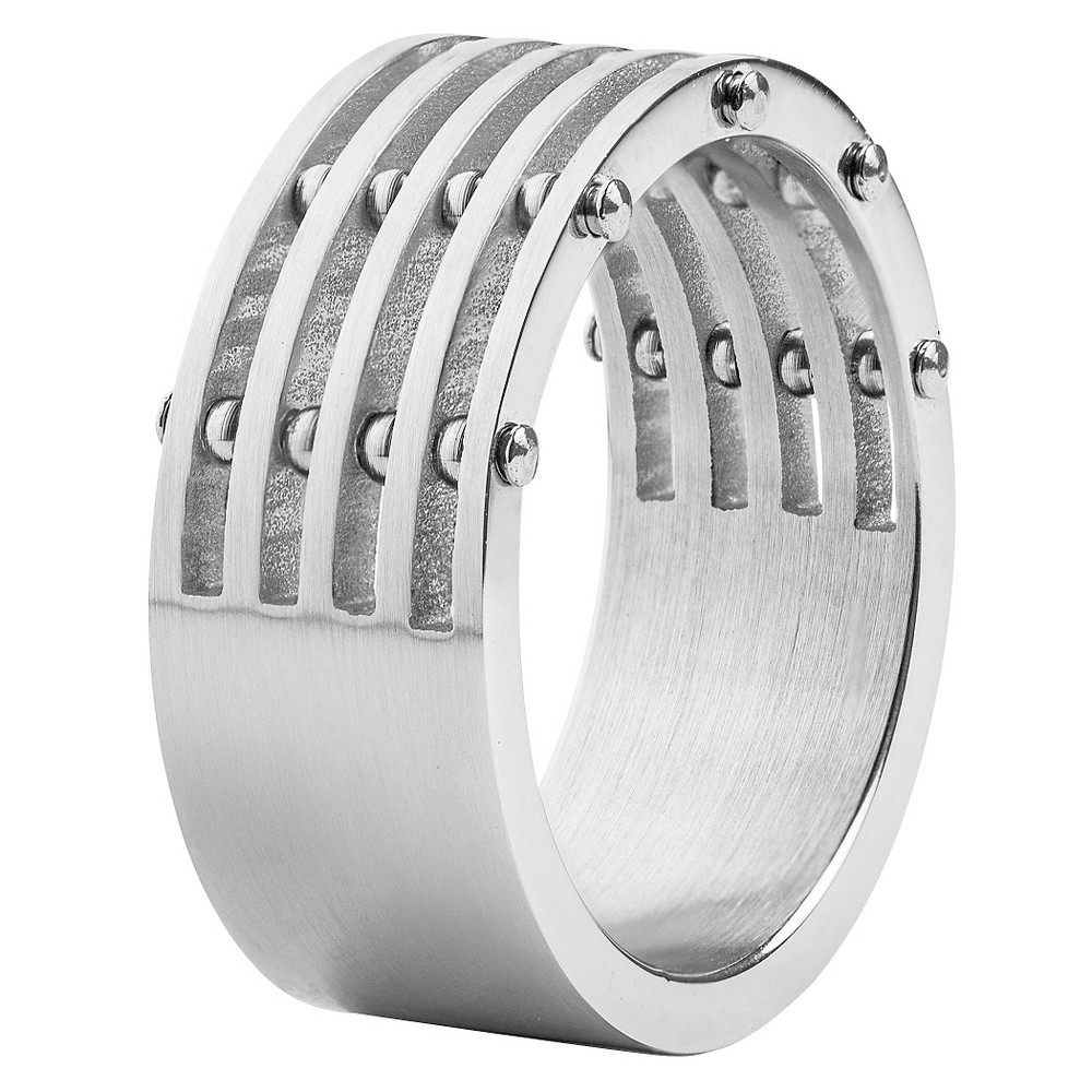 Men's West Coast Jewelry Stainless Steel Brushed Finish 5-Layer Split Ring with Bolt Accents (12), Silver