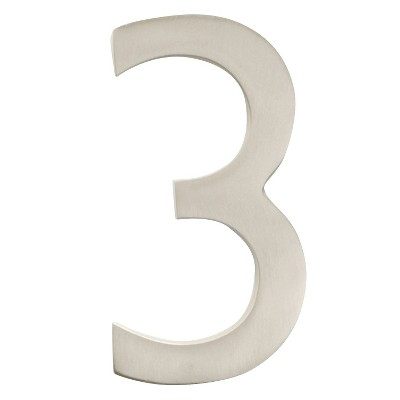 """Architectural Mailbox 4"""" Cast Floating House Number 3 Nickel"""