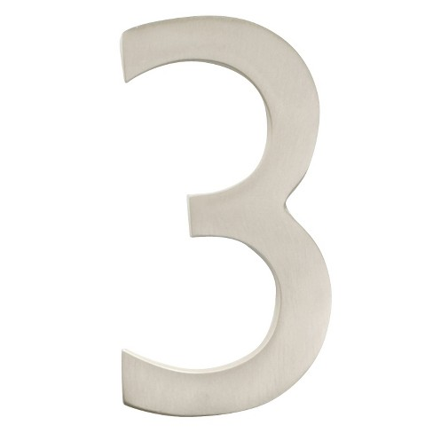 "Architectural Mailbox 4"" Cast Floating House Number 3 Satin Nickel - image 1 of 1"