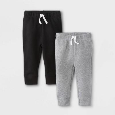 Baby Girls' 2pk Fleece Jogger Pull-On Pants - Cat & Jack™ Black 0-3M