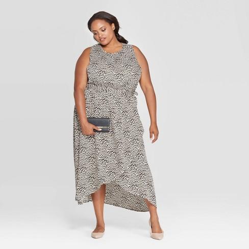 Women\'s Plus Size Animal Print Sleeveless Crewneck Wrap Skirt Maxi Dress -  Ava & Viv™ Black
