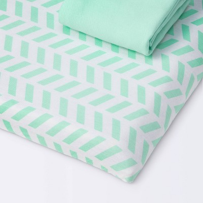 Fitted Playyard Jersey Sheet Chevron and Solid Mint - Cloud Island™ Mint 2pk