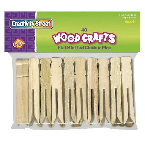 Creativity Street® Flat Wood Slotted Clothespins, 3 3/4 Length - 40 Per Pack - image 1 of 1