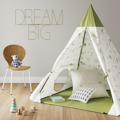 Kids Teepee Backyard Icons Green - Pillowfort™