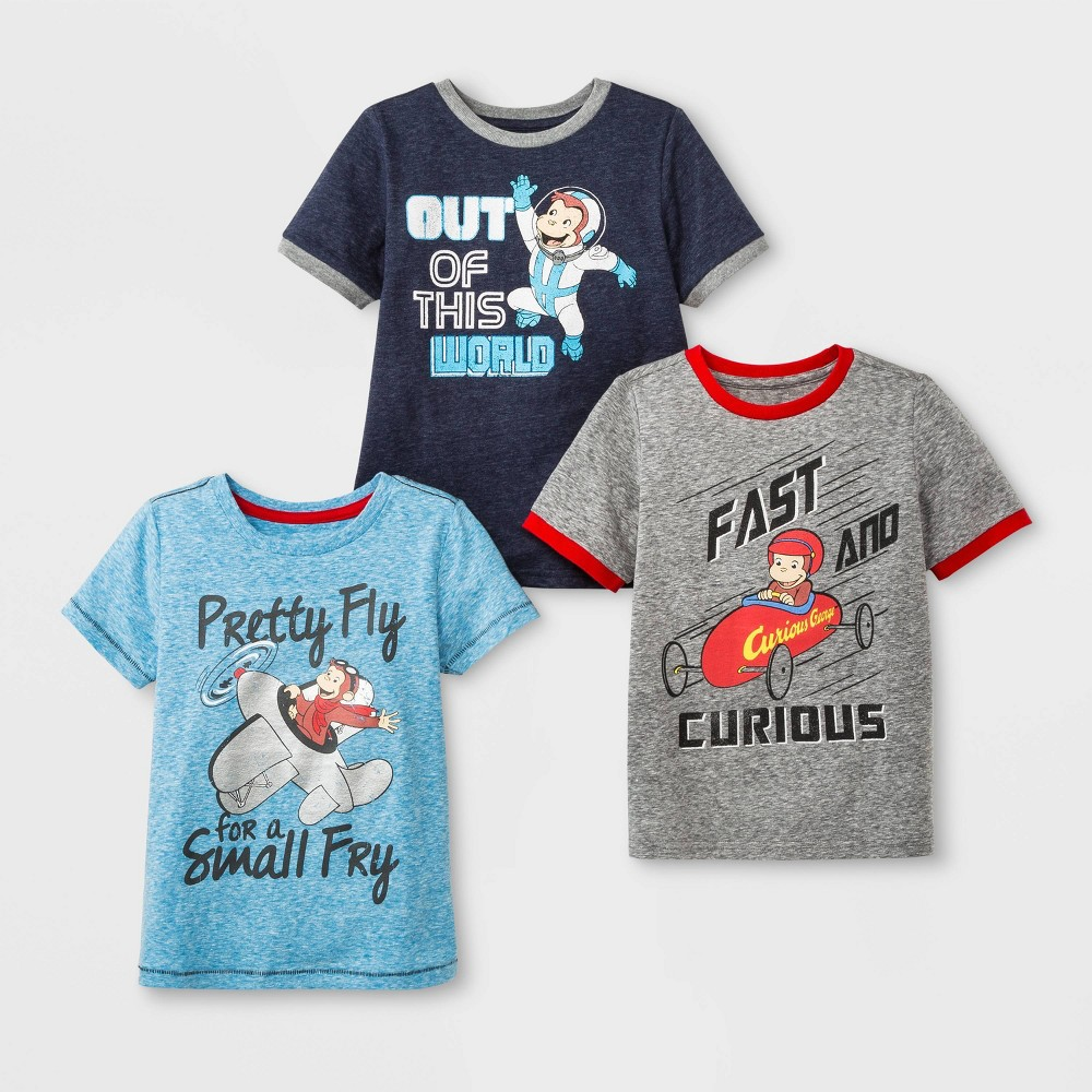Image of petiteToddler Boys' Curious George 3pk Short Sleeve T-Shirts - Blue/Gray 12M, Boy's, MultiColored