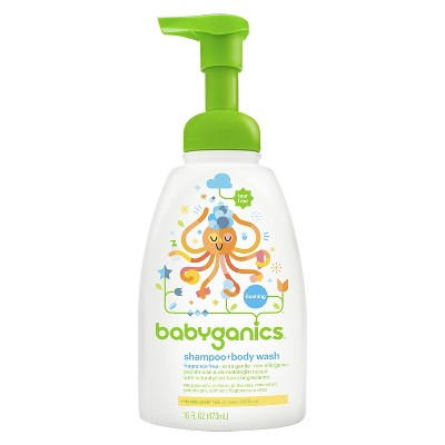 Babyganics Baby Shampoo + Body Wash, Fragrance Free - 16oz Pump Bottle