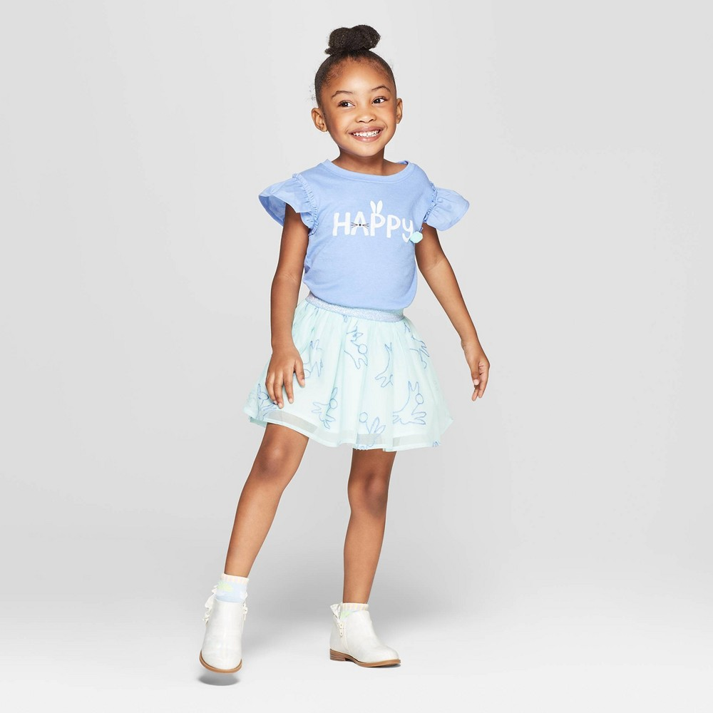 Toddler Girls' Woven Top and Bottom Set - Cat & Jack Blue/Aqua 3T