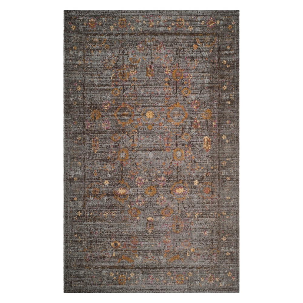 5'X8' Floral Loomed Area Rug Gray/Gold - Safavieh