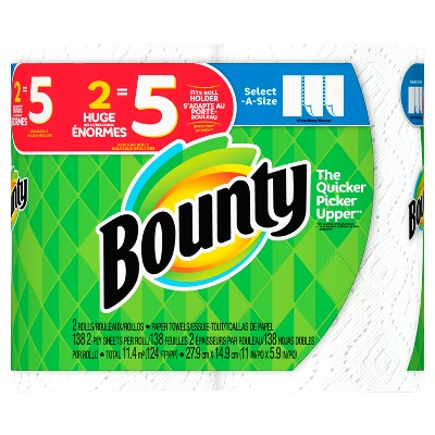 Bounty Select-a-Size Paper Towels - 2 Huge Rolls