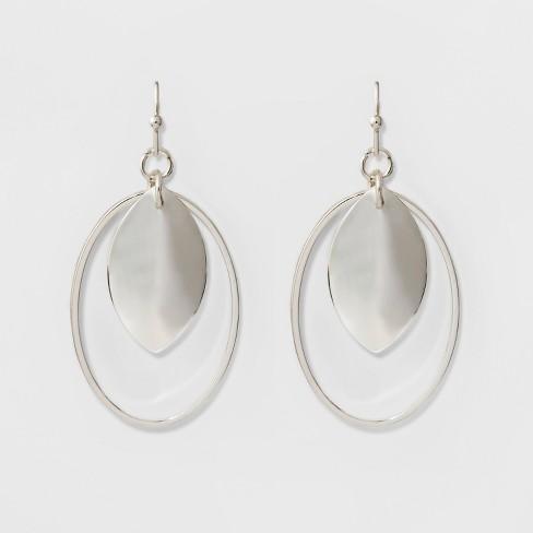 Oval Wire Teardrop Earrings - A New Day™ Silver - image 1 of 2