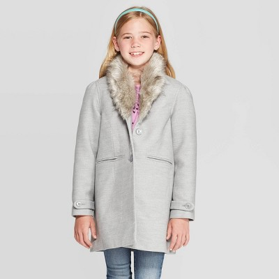 Girls' Faux Fur Collar Jacket   Cat &Amp; Jack Gray by Cat & Jack Gray
