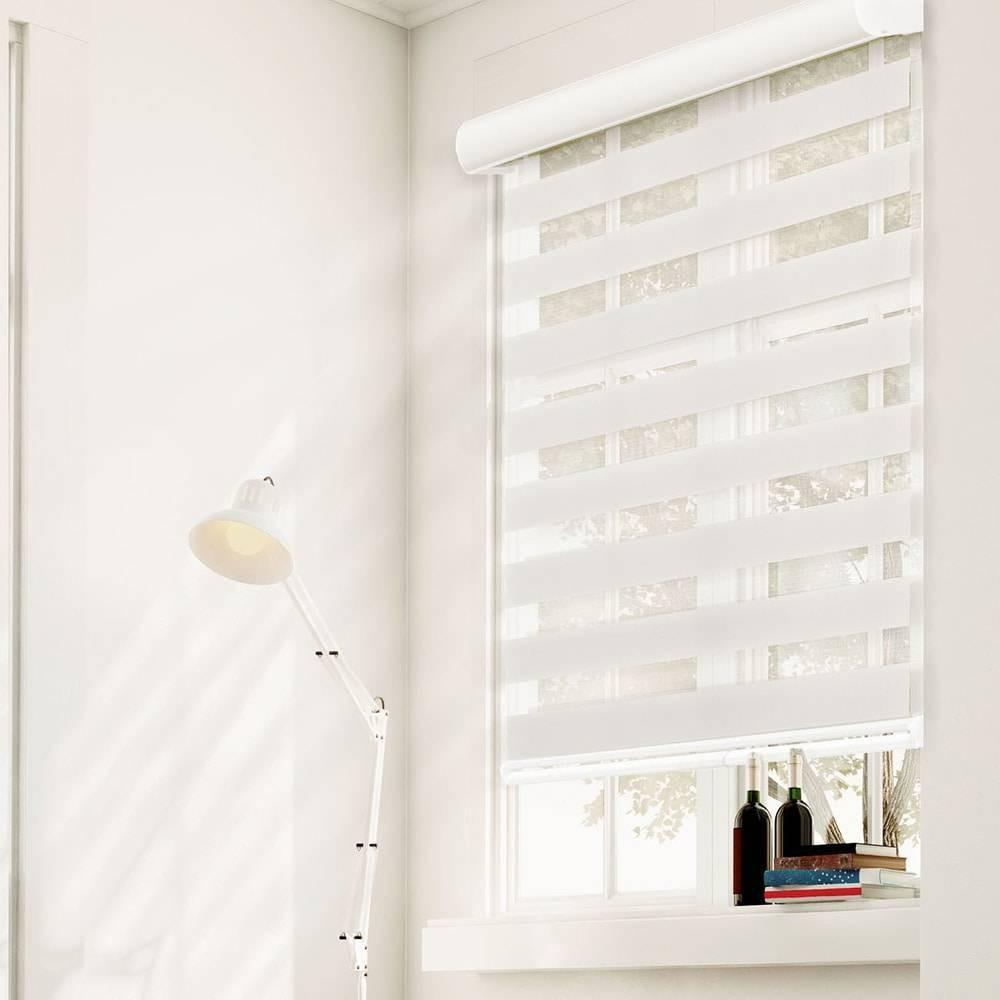 "Image of ""29""""x72"""" Free Stop Dual Layer Cordless Zebra Light Filtering Roller Window Shade White - Chicology"""
