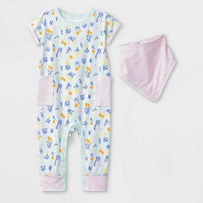 Baby Girls' 2pc Short Sleeve Floral Pocket Romper and Bib Set - Cat & Jack™ Green/Pink 0-3M