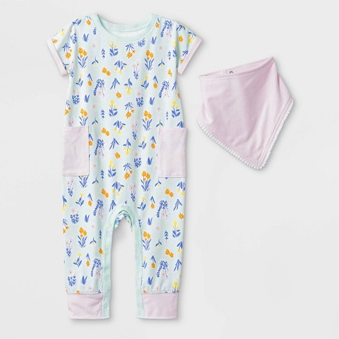 74a2ce50d69 Baby Girls  2pc Short Sleeve Floral Pocket Romper And Bib Set - Cat ...