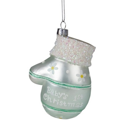 """Northlight 4"""" Mint Green Baby's 1st Christmas Mitten Holiday Ornament"""