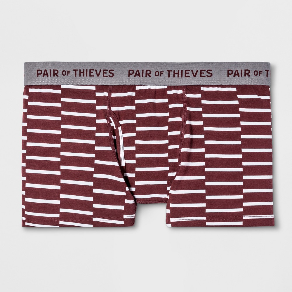 Pair of Thieves Men's Striped SS Along Lines Trunks - Maroon M, White