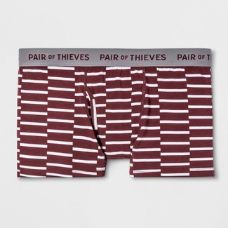 Pair of Thieves Men's Striped SS Along Lines Trunks - Maroon M