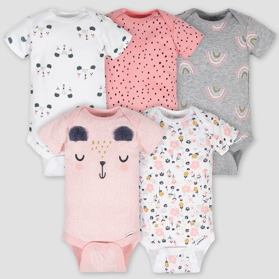 Gerber Baby Girls' 5pk Bear Bodysuit - Pink/White/Gray Newborn
